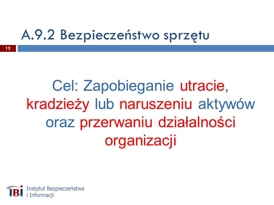 A.9.2 Bezpieczeństwo sprzętu Cel: Zapobieganie utracie, kradzieży lub naruszeniu aktywów oraz przerwaniu działalności organizacji 12