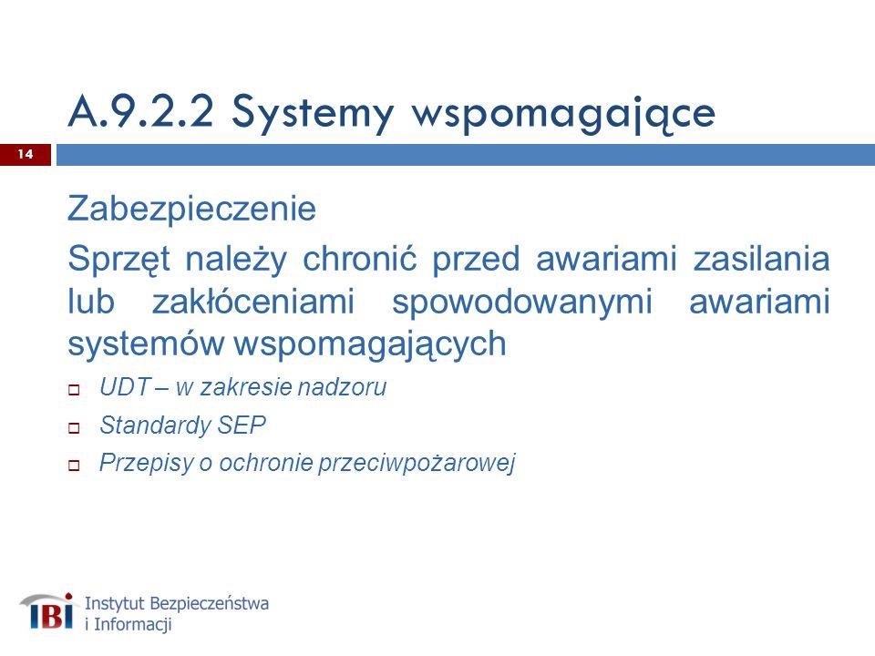 A.9.2.2 Systemy wspomagające Zabezpieczenie Sprzęt należy chronić przed awariami zasilania lub zakłóceniami spowodowanymi awariami systemów wspomagających UDT – w zakresie nadzoru Standardy SEP Przepisy o ochronie przeciwpożarowej 14
