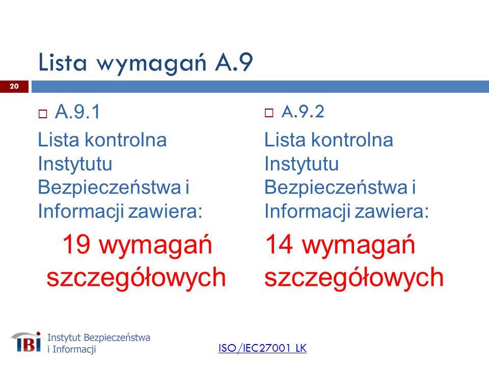Lista wymagań A.9 A.9.1 Lista kontrolna Instytutu Bezpieczeństwa i Informacji zawiera: 19 wymagań szczegółowych A.9.2 Lista kontrolna Instytutu Bezpieczeństwa i Informacji zawiera: 14 wymagań szczegółowych ISO/IEC27001 LK 20