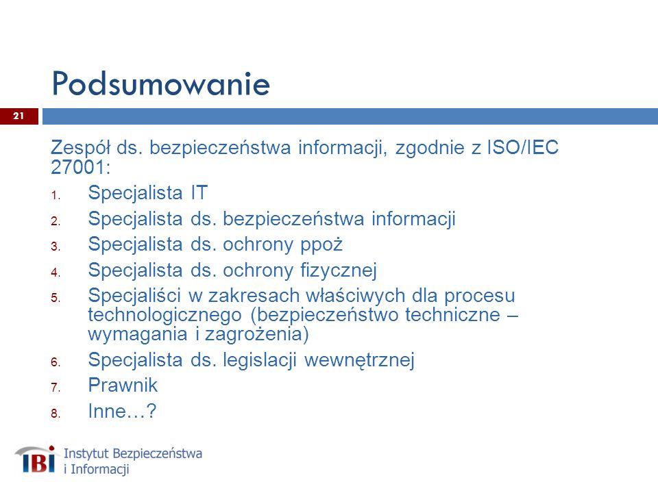 Podsumowanie Zespół ds.bezpieczeństwa informacji, zgodnie z ISO/IEC 27001: 1.
