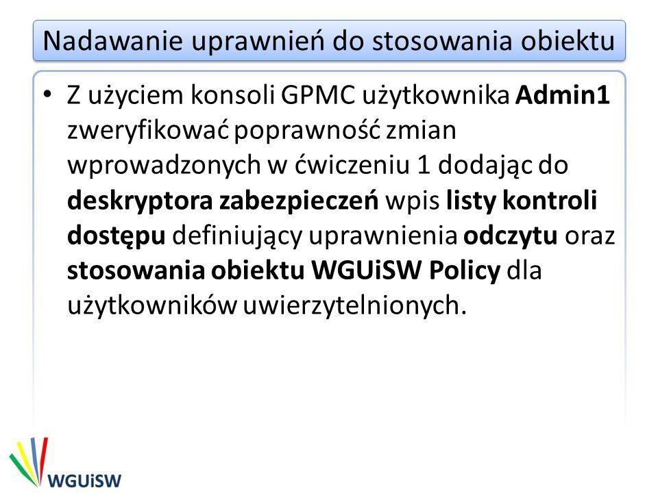 Nadawanie uprawnień do stosowania obiektu UWAGA.