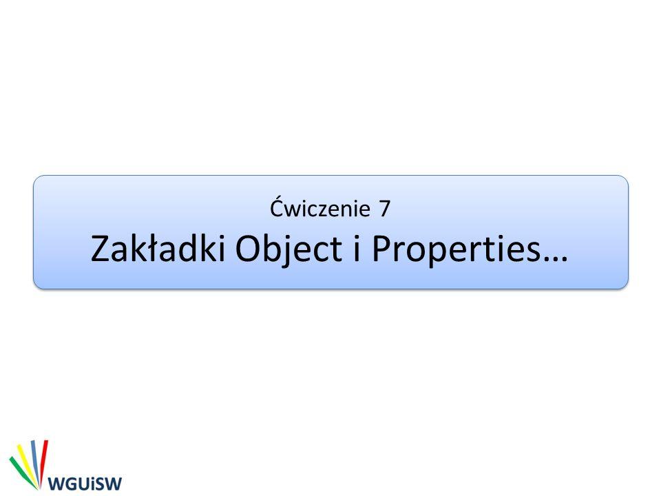 Zakładki Object i Properties