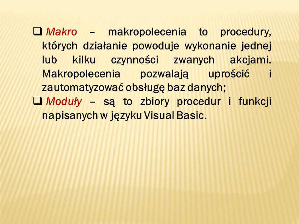 Makro – makropolecenia to procedury, których działanie powoduje wykonanie jednej lub kilku czynności zwanych akcjami. Makropolecenia pozwalają uprości