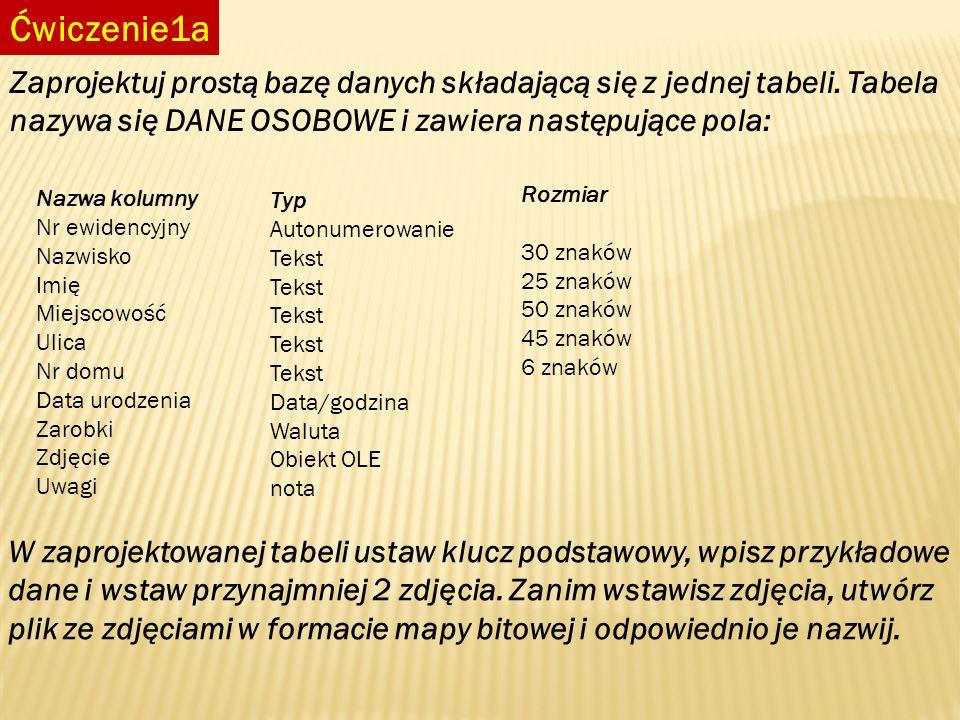 Ćwiczenie1a Zaprojektuj prostą bazę danych składającą się z jednej tabeli. Tabela nazywa się DANE OSOBOWE i zawiera następujące pola: Nazwa kolumny Nr
