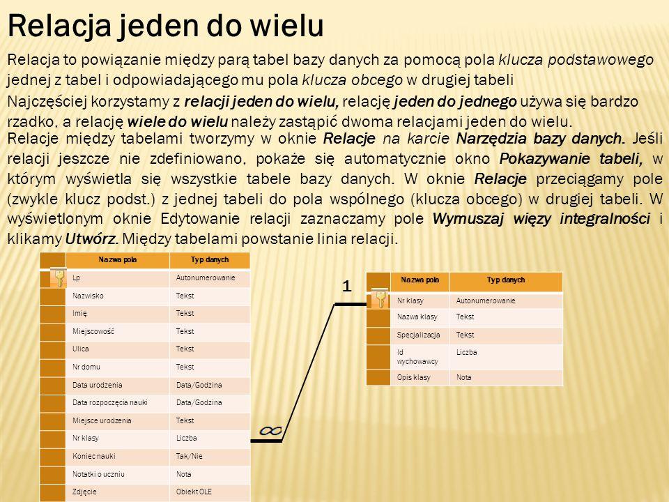 Relacja jeden do wielu Relacja to powiązanie między parą tabel bazy danych za pomocą pola klucza podstawowego jednej z tabel i odpowiadającego mu pola