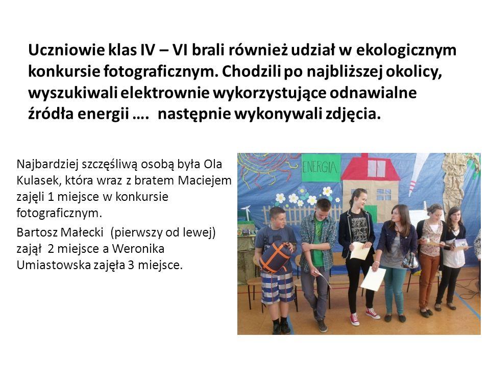 Uczniowie klas IV – VI brali również udział w ekologicznym konkursie fotograficznym.