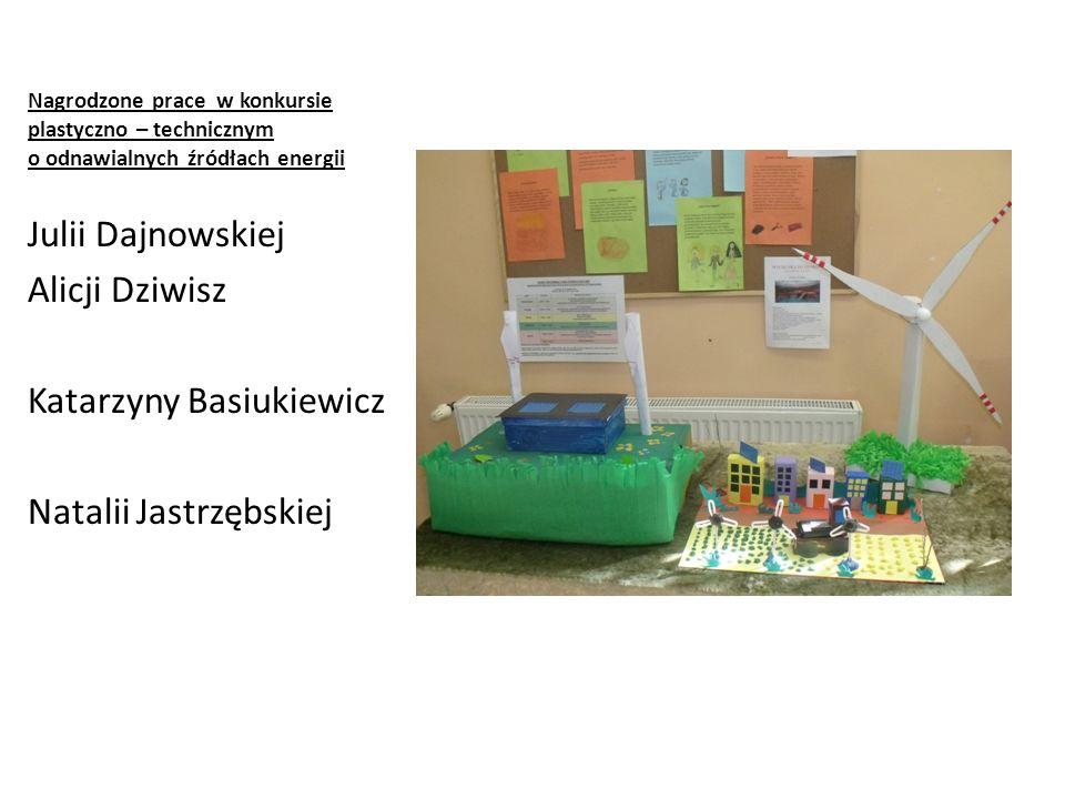 Nagrodzone prace w konkursie plastyczno – technicznym o odnawialnych źródłach energii Julii Dajnowskiej Alicji Dziwisz Katarzyny Basiukiewicz Natalii Jastrzębskiej