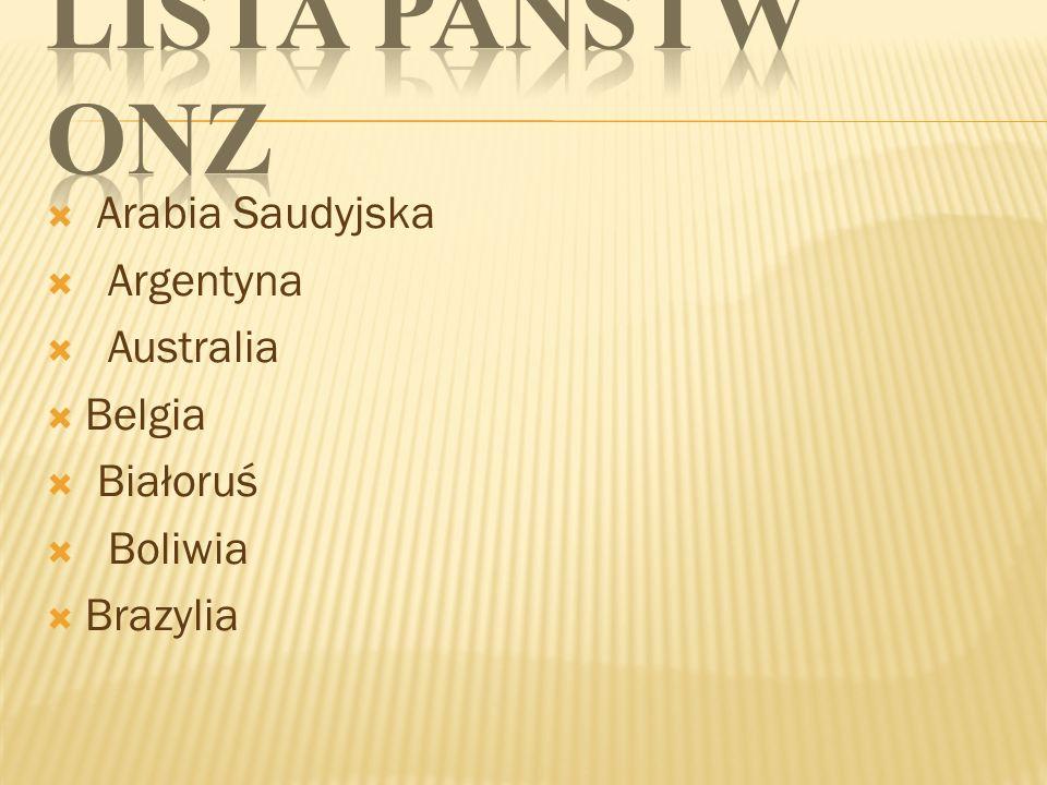 Arabia Saudyjska Argentyna Australia Belgia Białoruś Boliwia Brazylia