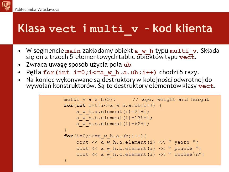 Klasa vect i multi_v – kod klienta W segmencie main zakładamy obiekt a_w_h typu multi_v. Składa się on z trzech 5-elementowych tablic obiektów typu ve