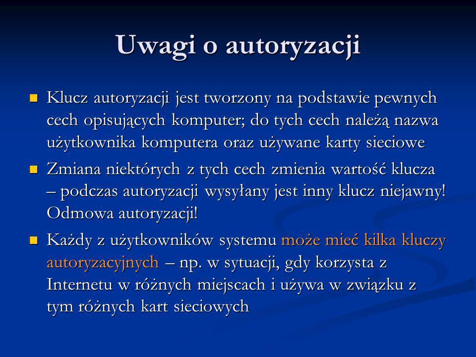 Uwagi o autoryzacji Klucz autoryzacji jest tworzony na podstawie pewnych cech opisujących komputer; do tych cech należą nazwa użytkownika komputera or