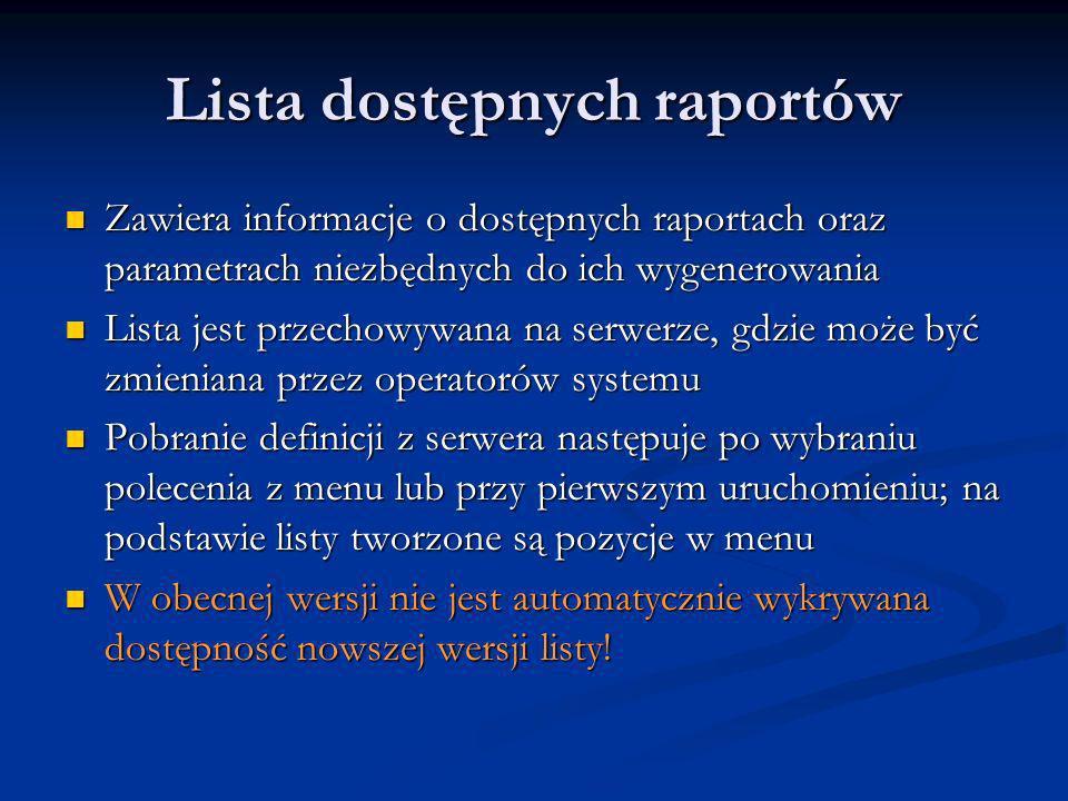 Lista dostępnych raportów Zawiera informacje o dostępnych raportach oraz parametrach niezbędnych do ich wygenerowania Zawiera informacje o dostępnych