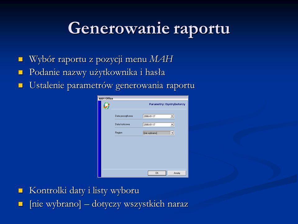 Generowanie raportu Wybór raportu z pozycji menu MAH Wybór raportu z pozycji menu MAH Podanie nazwy użytkownika i hasła Podanie nazwy użytkownika i ha