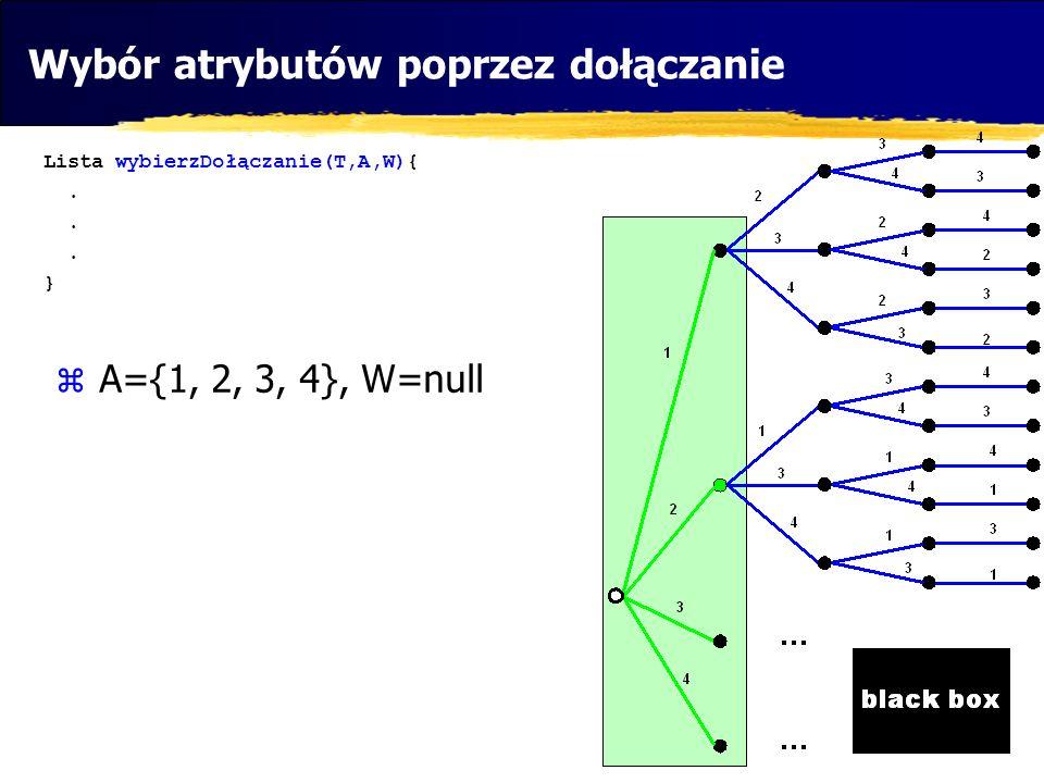 Algorytm symulowanego wyżarzania Lista wybierzMetodaSymWyżarzania(T){ Lista start=wylosujAktualnyWybór(); double ocenaStartowego=uruchomBlackBox_i_OceńPrzydatnosc(T,start); do{ Lista sasiad=wylosuj coś co różni się na jednej pozycji od start; double ocena=uruchomBlackBoz_i_OceńPrzydatność(T,sasiad); if (ocena>ocenaStartowego){ start=sasiad; ocenaStartowego=ocena; } else if (Math.random()<exp((ocena-ocenaStartowego)/T)){ start=sasiad; ocenaStartowego=ocena; zmniejsz(T); } }while(nie_nastąpi_ochłodzenie); }