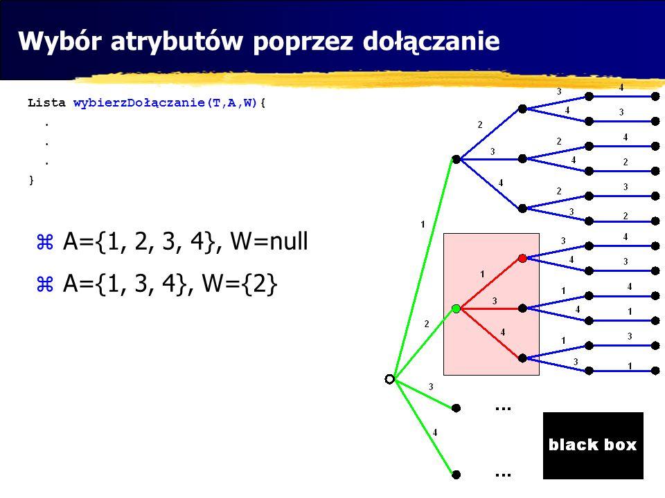 Wybór atrybutów poprzez dołączanie Lista wybierzDołączanie(T,A,W){.