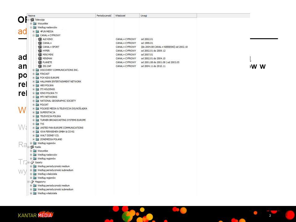 2 OPROGRAMOWANIE ANALITYCZNE adExpert, to autorskie narzędzie umożliwiające wszechstronną analizę danych AdEx. Dostarcza raporty dla dowolnych okresów