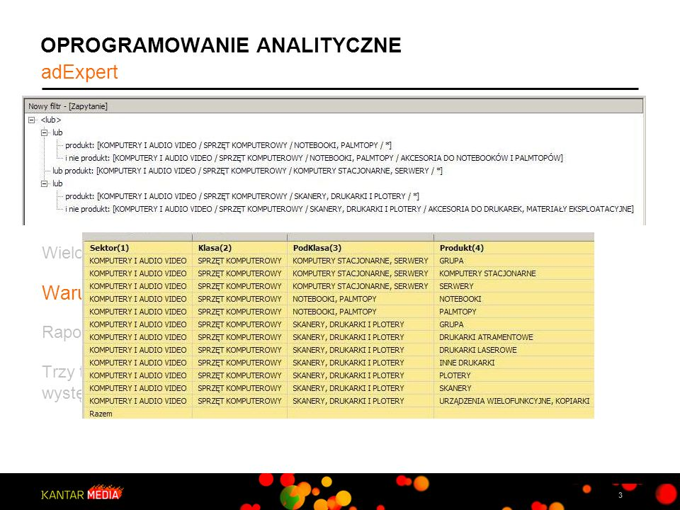 3 OPROGRAMOWANIE ANALITYCZNE adExpert, to autorskie narzędzie umożliwiające wszechstronną analizę danych AdEx. Dostarcza raporty dla dowolnych okresów