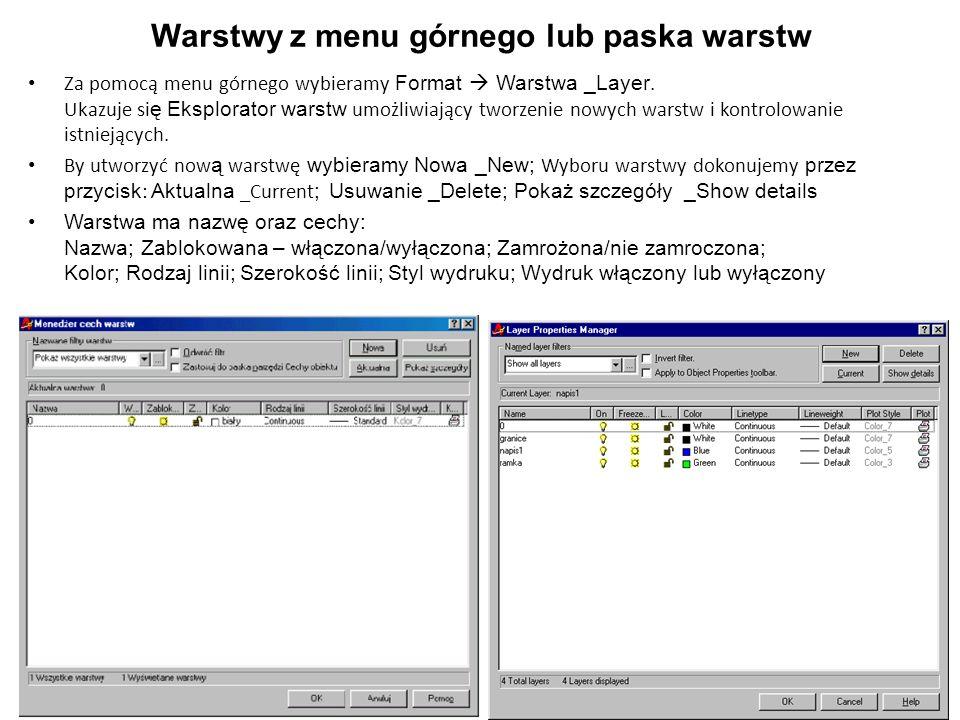 Warstwy z menu górnego lub paska warstw Za pomocą menu górnego wybieramy Format Warstwa _Layer. Ukazuje si ę Eksplorator warstw umożliwiający tworzeni