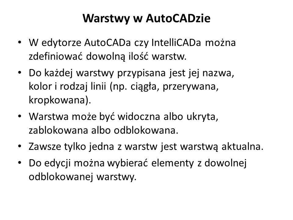Warstwy w AutoCADzie W edytorze AutoCADa czy IntelliCADa można zdefiniować dowolną ilość warstw. Do każdej warstwy przypisana jest jej nazwa, kolor i