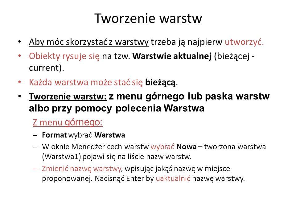 Polecenie WARSTWA _LAYER Z klawiatury : WARSTWA _LAYER Opcje: .