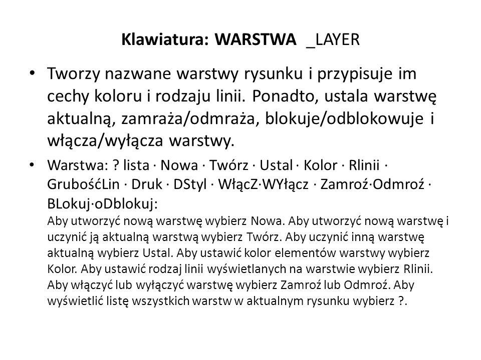 Klawiatura: WARSTWA _LAYER Tworzy nazwane warstwy rysunku i przypisuje im cechy koloru i rodzaju linii. Ponadto, ustala warstwę aktualną, zamraża/odmr