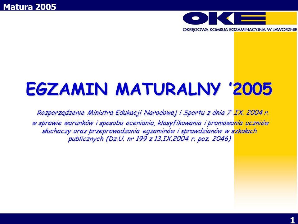 Matura 2005 1 EGZAMIN MATURALNY 2005 Rozporządzenie Ministra Edukacji Narodowej i Sportu z dnia 7.IX. 2004 r. w sprawie warunków i sposobu oceniania,