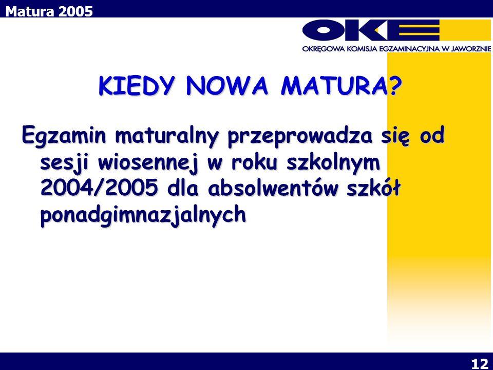 Matura 2005 12 KIEDY NOWA MATURA? Egzamin maturalny przeprowadza się od sesji wiosennej w roku szkolnym 2004/2005 dla absolwentów szkół ponadgimnazjal