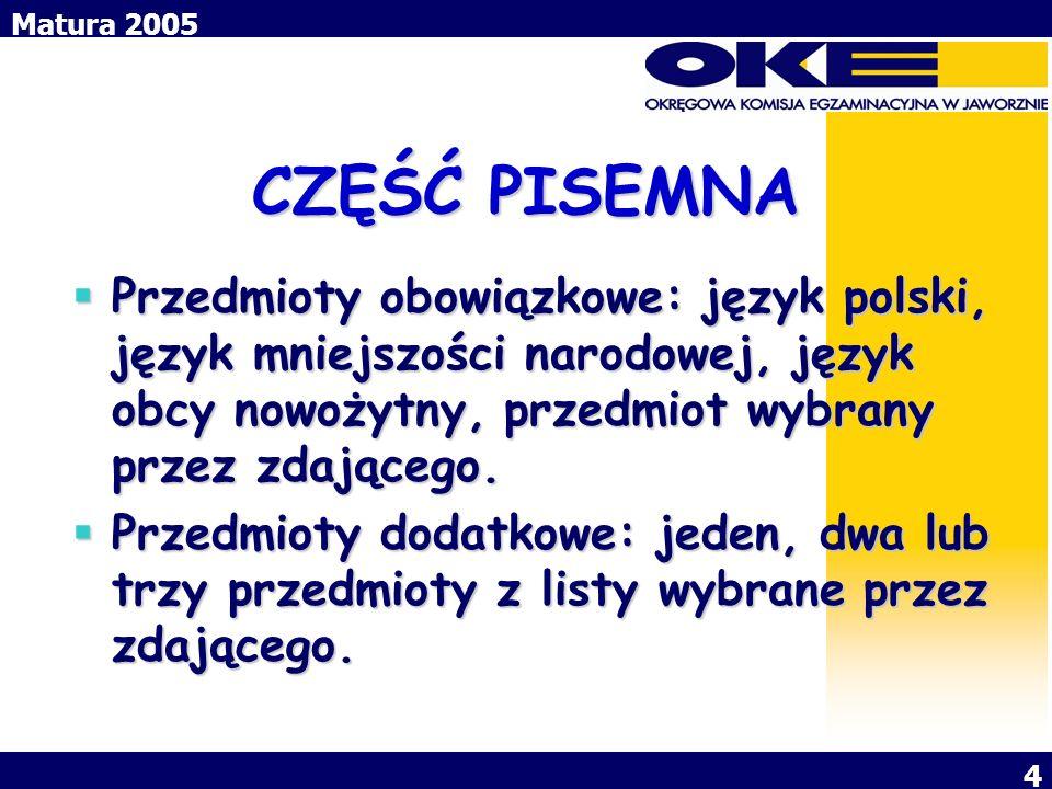 Matura 2005 4 CZĘŚĆ PISEMNA Przedmioty obowiązkowe: język polski, język mniejszości narodowej, język obcy nowożytny, przedmiot wybrany przez zdającego