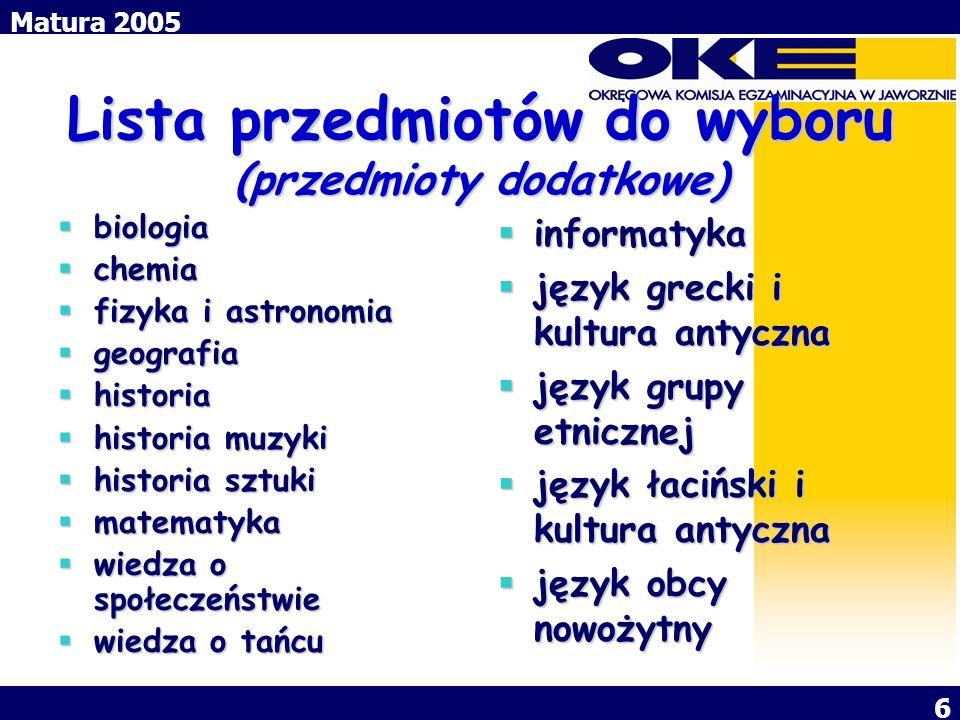 Matura 2005 7 POZIOM EGZAMINU Jeden poziom: język polski i język mniejszości narodowej w części ustnej egzaminu.