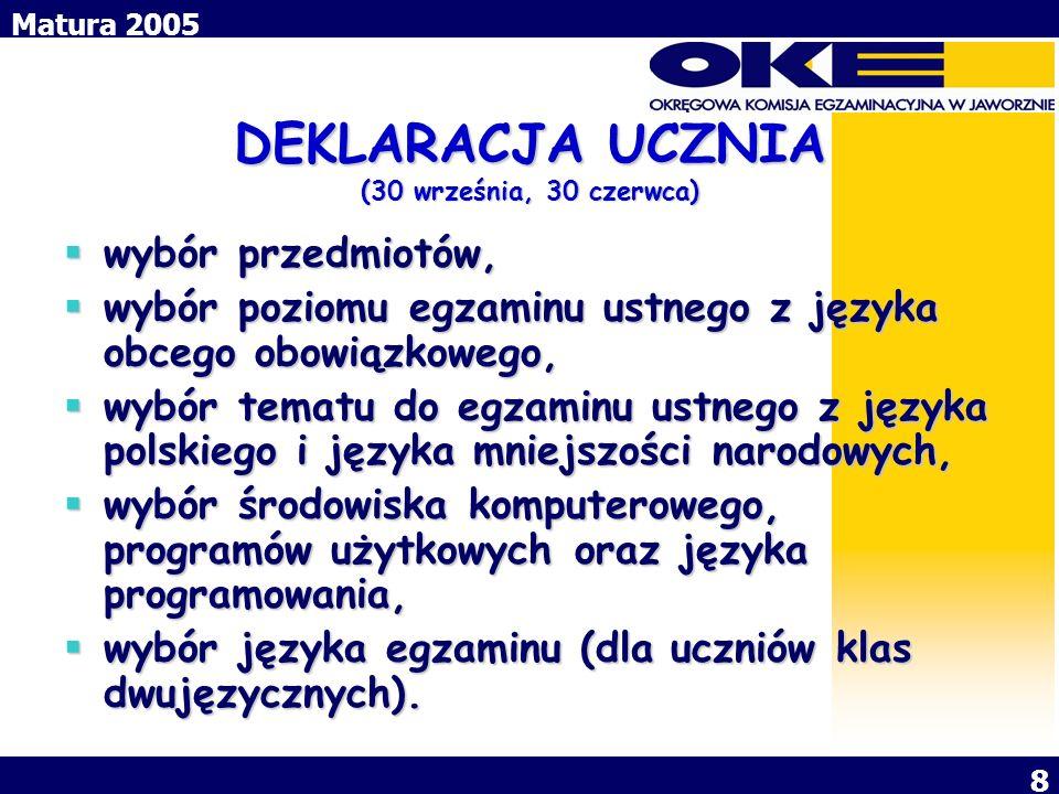 Matura 2005 8 DEKLARACJA UCZNIA (30 września, 30 czerwca) wybór przedmiotów, wybór przedmiotów, wybór poziomu egzaminu ustnego z języka obcego obowiąz
