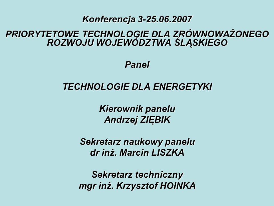 Konferencja 3-25.06.2007 PRIORYTETOWE TECHNOLOGIE DLA ZRÓWNOWAŻONEGO ROZWOJU WOJEWÓDZTWA ŚLĄSKIEGO Panel TECHNOLOGIE DLA ENERGETYKI Kierownik panelu Andrzej ZIĘBIK Sekretarz naukowy panelu dr inż.
