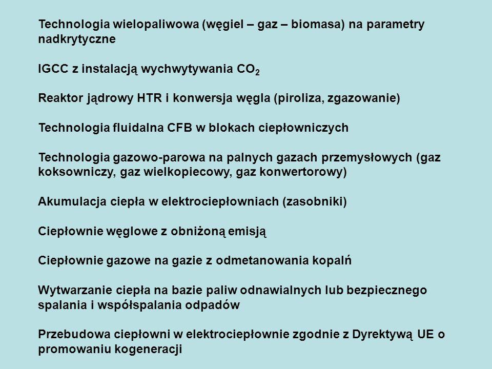 Technologia wielopaliwowa (węgiel – gaz – biomasa) na parametry nadkrytyczne IGCC z instalacją wychwytywania CO 2 Reaktor jądrowy HTR i konwersja węgla (piroliza, zgazowanie) Technologia fluidalna CFB w blokach ciepłowniczych Technologia gazowo-parowa na palnych gazach przemysłowych (gaz koksowniczy, gaz wielkopiecowy, gaz konwertorowy) Akumulacja ciepła w elektrociepłowniach (zasobniki) Ciepłownie węglowe z obniżoną emisją Ciepłownie gazowe na gazie z odmetanowania kopalń Wytwarzanie ciepła na bazie paliw odnawialnych lub bezpiecznego spalania i współspalania odpadów Przebudowa ciepłowni w elektrociepłownie zgodnie z Dyrektywą UE o promowaniu kogeneracji