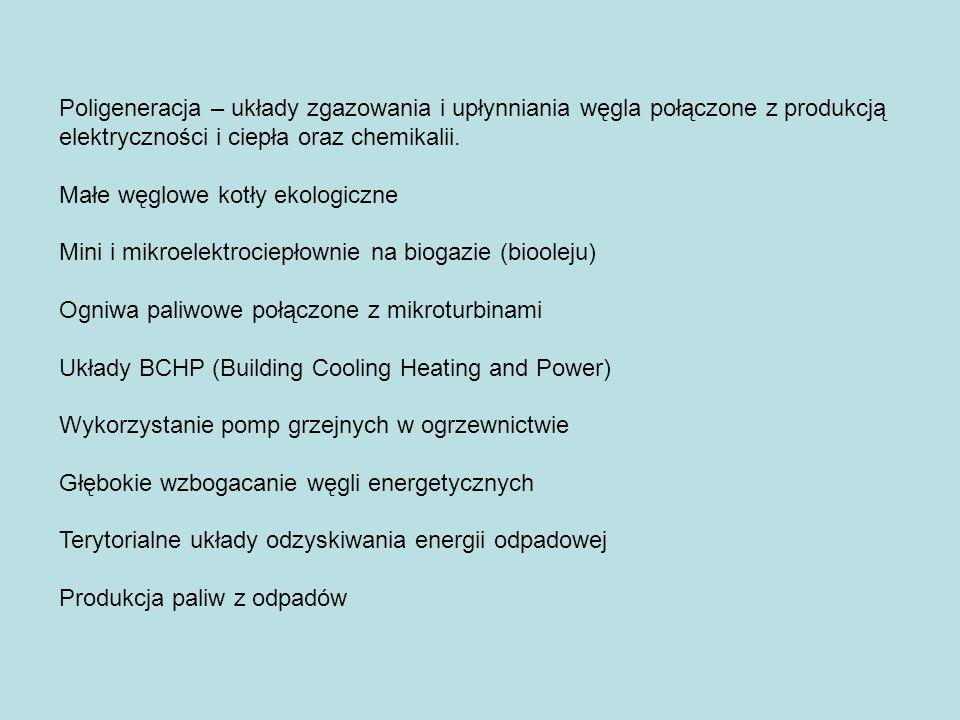 Poligeneracja – układy zgazowania i upłynniania węgla połączone z produkcją elektryczności i ciepła oraz chemikalii. Małe węglowe kotły ekologiczne Mi
