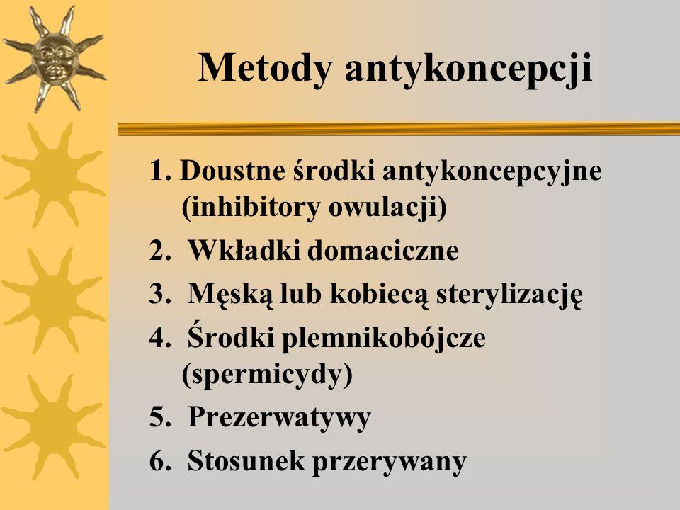 Metody antykoncepcji 1. Doustne środki antykoncepcyjne (inhibitory owulacji) 2. Wkładki domaciczne 3. Męską lub kobiecą sterylizację 4. Środki plemnik