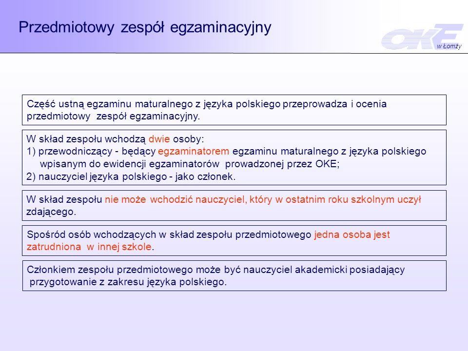 Przedmiotowy zespół egzaminacyjny Część ustną egzaminu maturalnego z języka polskiego przeprowadza i ocenia przedmiotowy zespół egzaminacyjny. W skład