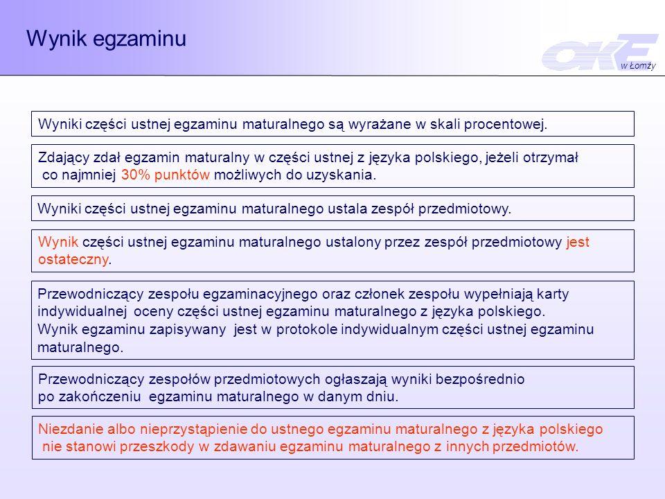 Wynik egzaminu Wyniki części ustnej egzaminu maturalnego są wyrażane w skali procentowej.