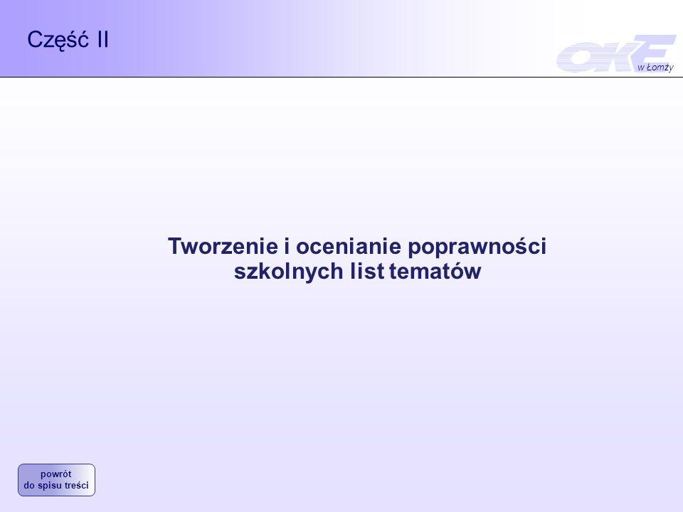 Część II Tworzenie i ocenianie poprawności szkolnych list tematów w Łomży powrót do spisu treści
