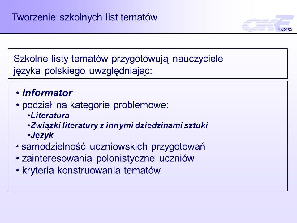 Tworzenie szkolnych list tematów Szkolne listy tematów przygotowują nauczyciele języka polskiego uwzględniając: Informator podział na kategorie problemowe: Literatura Związki literatury z innymi dziedzinami sztuki Język samodzielność uczniowskich przygotowań zainteresowania polonistyczne uczniów kryteria konstruowania tematów w Łomży