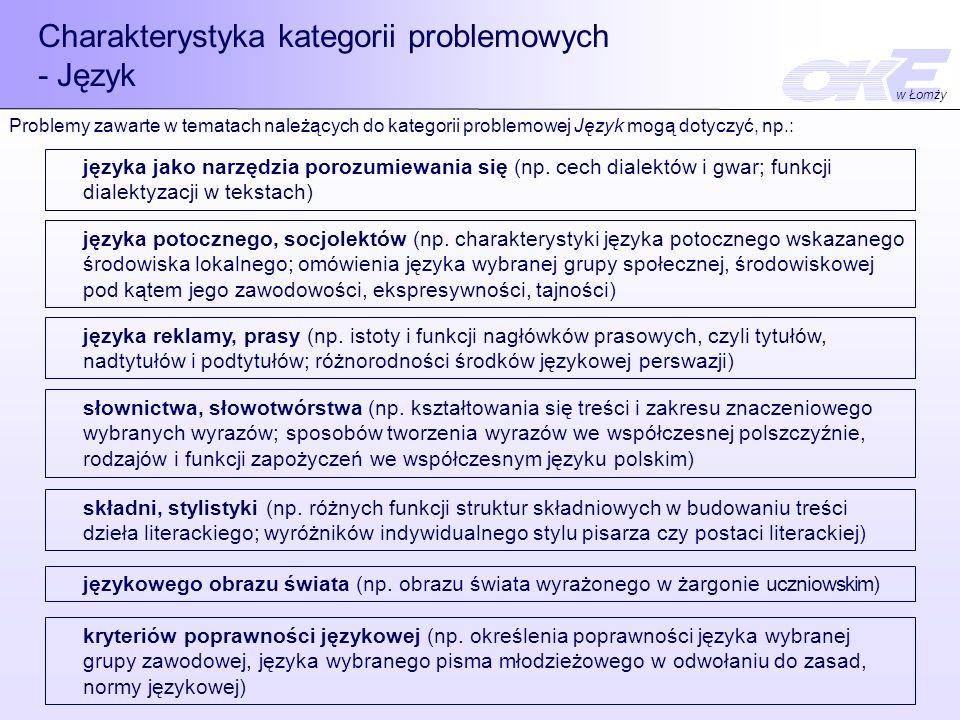 Charakterystyka kategorii problemowych - Język języka jako narzędzia porozumiewania się (np. cech dialektów i gwar; funkcji dialektyzacji w tekstach)