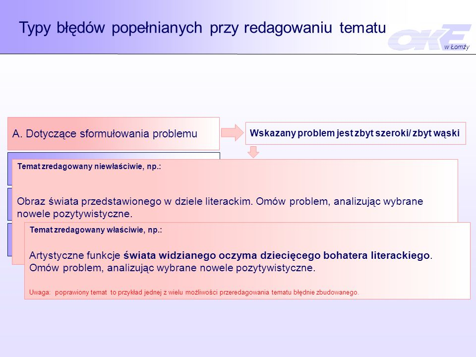 Typy błędów popełnianych przy redagowaniu tematu A. Dotyczące sformułowania problemu B. Dotyczące określania czynności C. Dotyczące wskazania materiał
