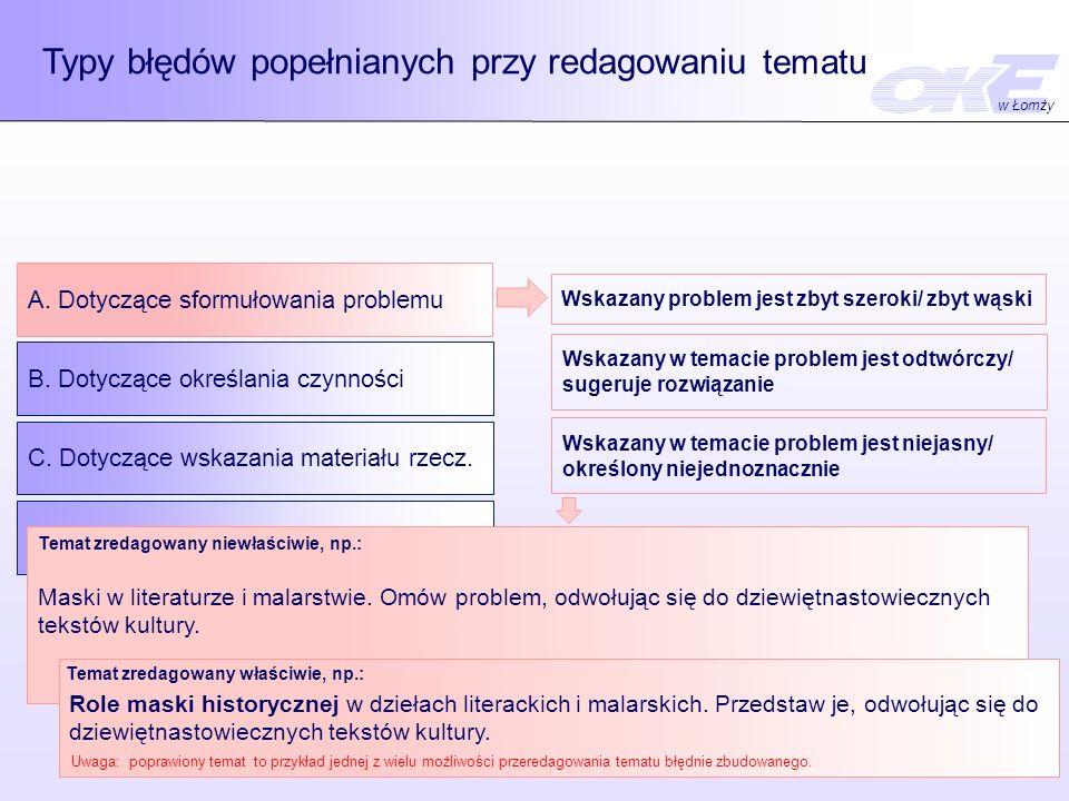 Typy błędów popełnianych przy redagowaniu tematu A.