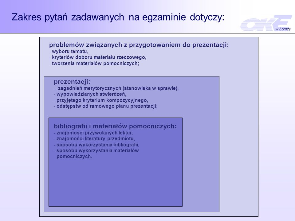Zakres pytań zadawanych na egzaminie dotyczy: problemów związanych z przygotowaniem do prezentacji: - wyboru tematu, - kryteriów doboru materiału rzeczowego, - tworzenia materiałów pomocniczych; prezentacji: - zagadnień merytorycznych (stanowiska w sprawie), - wypowiedzianych stwierdzeń, - przyjętego kryterium kompozycyjnego, - odstępstw od ramowego planu prezentacji; bibliografii i materiałów pomocniczych: - znajomości przywołanych lektur, - znajomości literatury przedmiotu, - sposobu wykorzystania bibliografii, - sposobu wykorzystania materiałów pomocniczych.