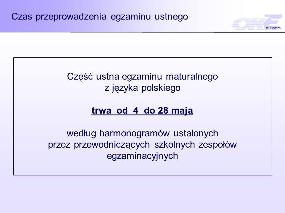 Czas przeprowadzenia egzaminu ustnego w Łomży Część ustna egzaminu maturalnego z języka polskiego trwa od 4 do 28 maja według harmonogramów ustalonych