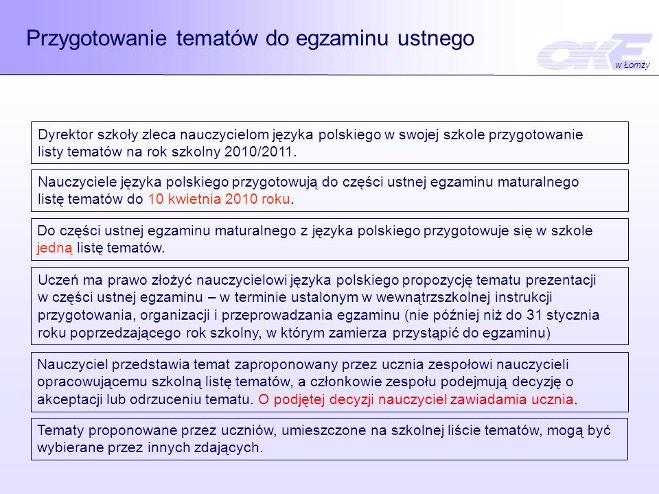 Przygotowanie tematów do egzaminu ustnego Dyrektor szkoły zleca nauczycielom języka polskiego w swojej szkole przygotowanie listy tematów na rok szkolny 2010/2011.