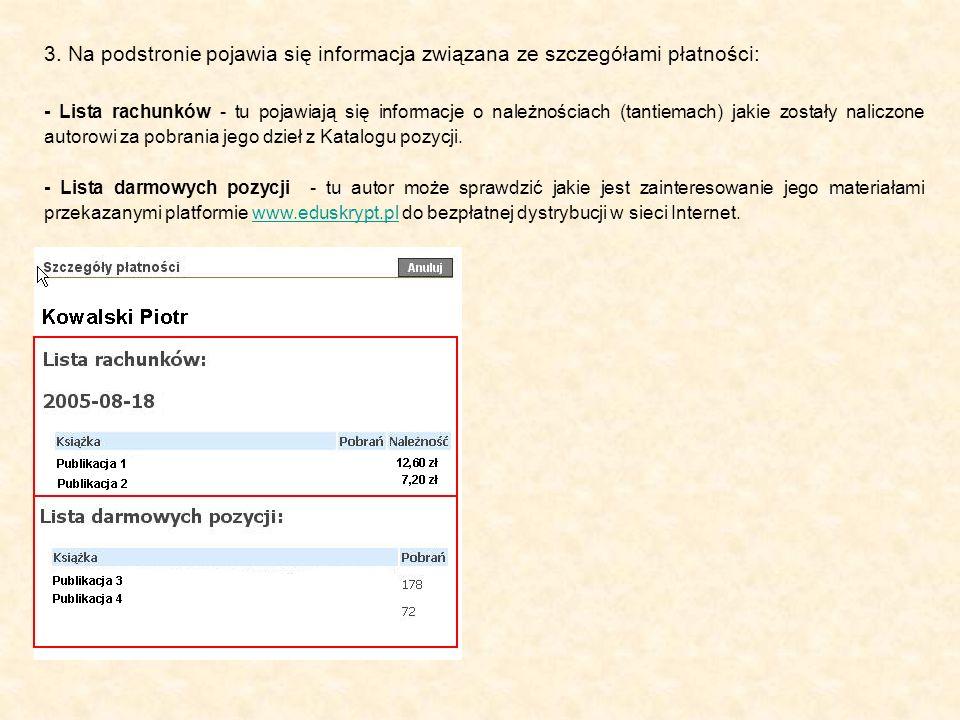 3. Na podstronie pojawia się informacja związana ze szczegółami płatności: - Lista darmowych pozycji - tu autor może sprawdzić jakie jest zainteresowa