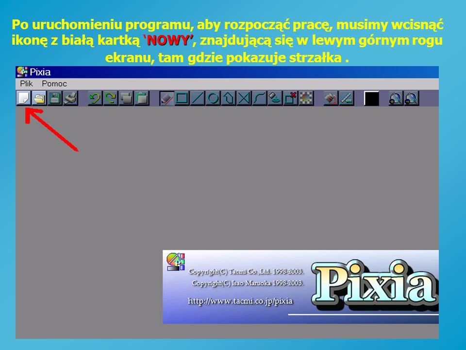 Aby rozpocząć pracę w programie PIXIA należy kliknąć myszą na: Klawisz Start Programy Programy Tacmi > Pixia Tacmi > Pixia