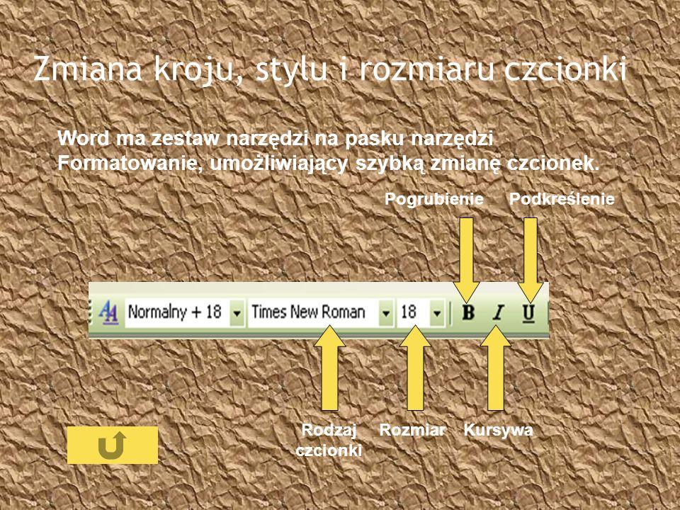 Zmiana kroju, stylu i rozmiaru czcionki Word ma zestaw narzędzi na pasku narzędzi Formatowanie, umożliwiający szybką zmianę czcionek. Rodzaj czcionki