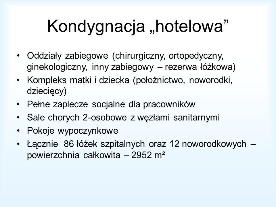 Kondygnacja hotelowa Oddziały zabiegowe (chirurgiczny, ortopedyczny, ginekologiczny, inny zabiegowy – rezerwa łóżkowa) Kompleks matki i dziecka (położnictwo, noworodki, dziecięcy) Pełne zaplecze socjalne dla pracowników Sale chorych 2-osobowe z węzłami sanitarnymi Pokoje wypoczynkowe Łącznie 86 łóżek szpitalnych oraz 12 noworodkowych – powierzchnia całkowita – 2952 m²