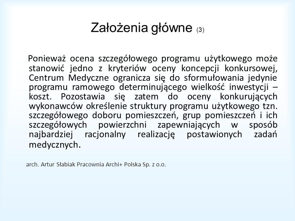 Założenia główne (3) Ponieważ ocena szczegółowego programu użytkowego może stanowić jedno z kryteriów oceny koncepcji konkursowej, Centrum Medyczne ogranicza się do sformułowania jedynie programu ramowego determinującego wielkość inwestycji – koszt.