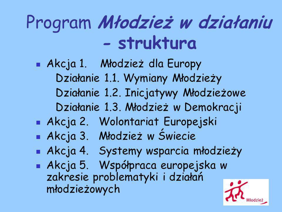 Program Młodzież w działaniu - struktura Akcja 1. Młodzież dla Europy Działanie 1.1.