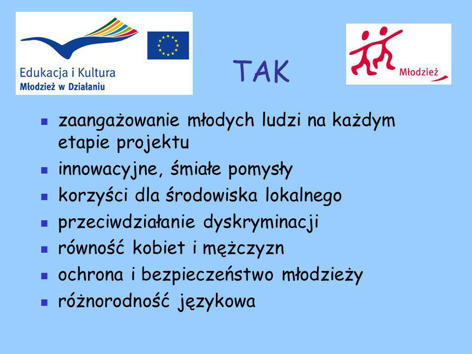 TAK zaangażowanie młodych ludzi na każdym etapie projektu innowacyjne, śmiałe pomysły korzyści dla środowiska lokalnego przeciwdziałanie dyskryminacji równość kobiet i mężczyzn ochrona i bezpieczeństwo młodzieży różnorodność językowa